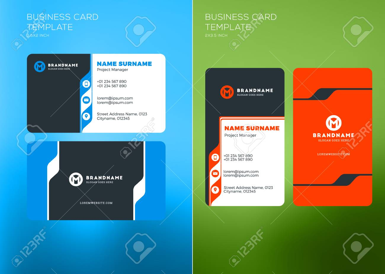 Corporate business card print template vertical and horizontal corporate business card print template vertical and horizontal business card templates vector illustration colourmoves