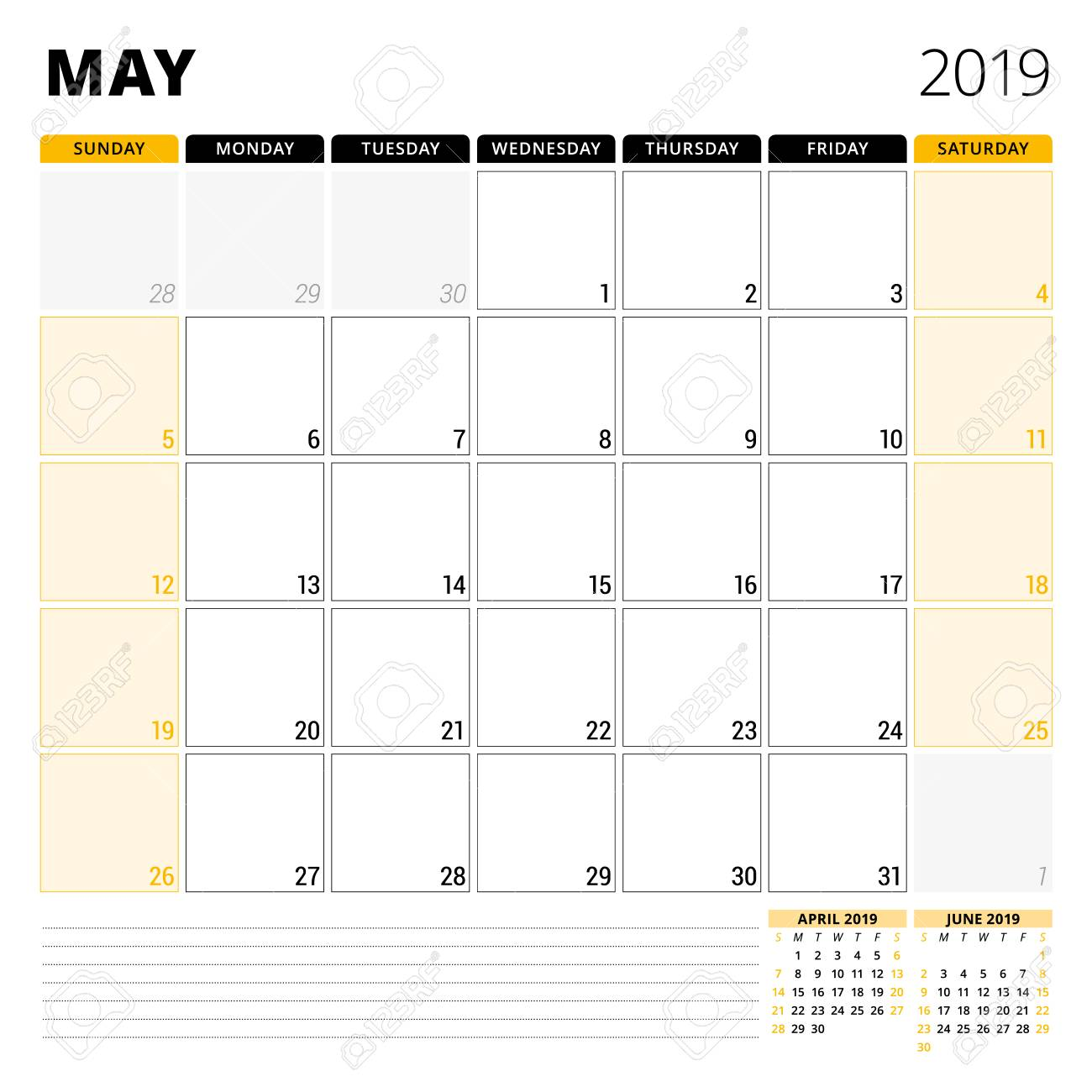 Calendar planner for May 2019  Stationery design template  Week
