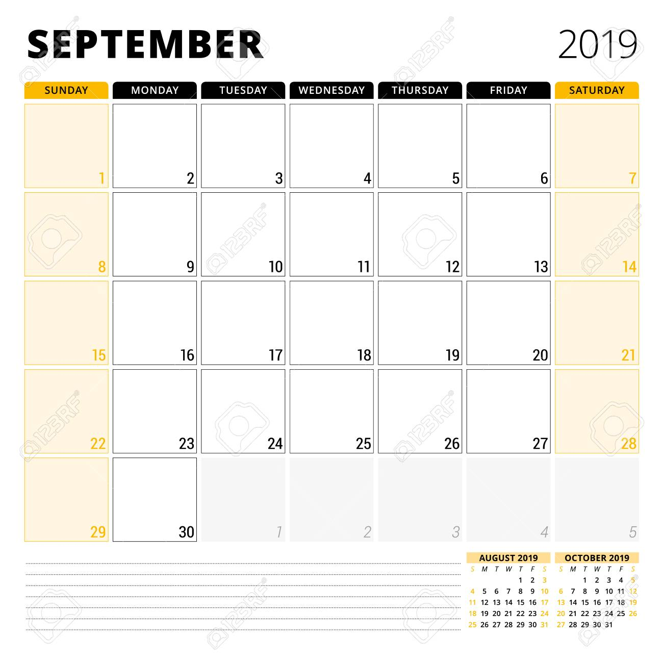 Calendar Planner September 2019.Calendar Planner For September 2019 Stationery Design Template