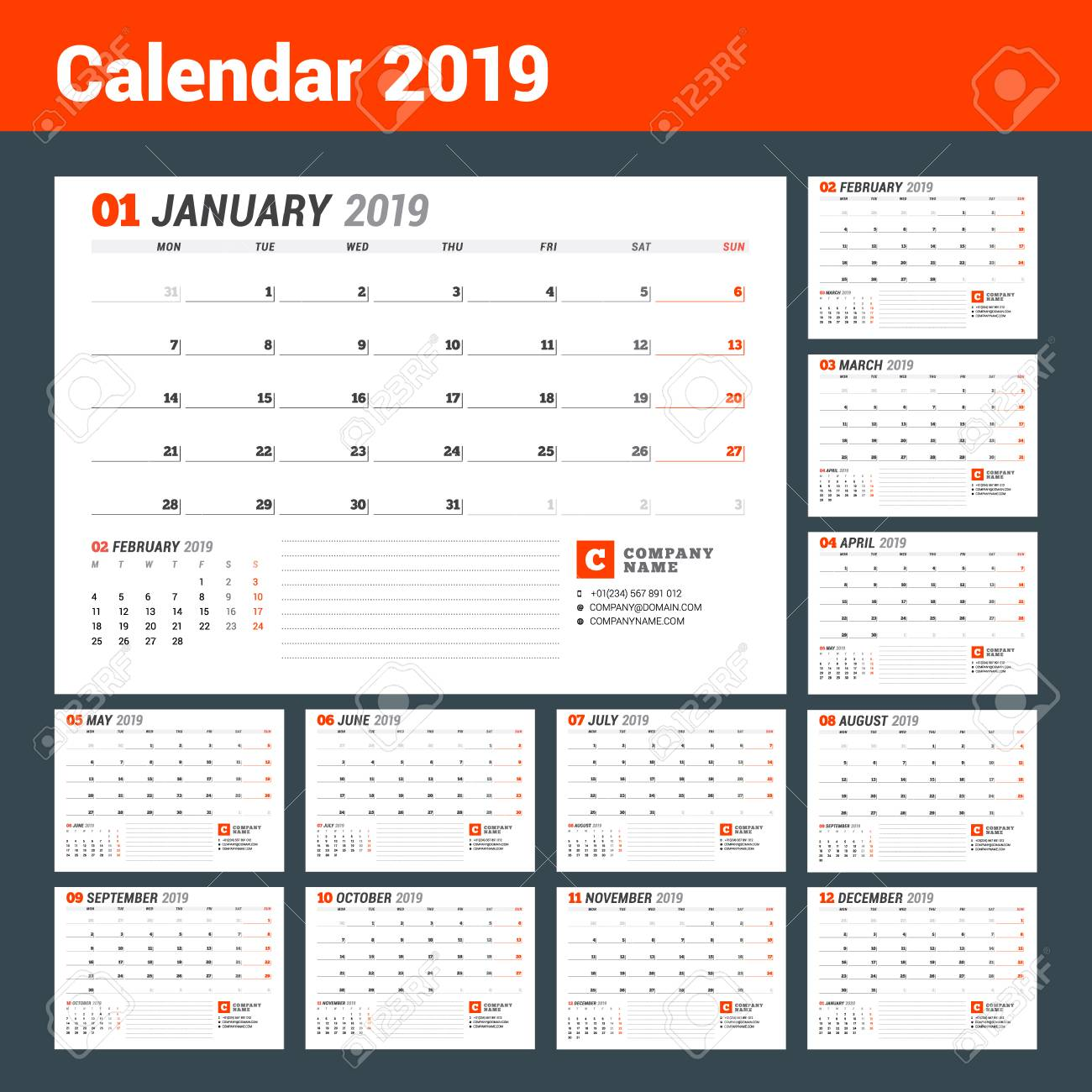 Calendar Template For 2019 Year Business Planner Stationery