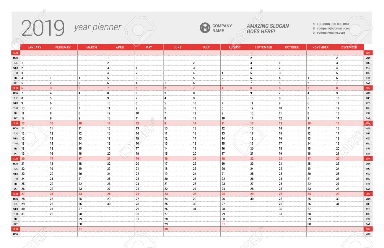 Calendar Planner 2019 Yearly Wall Calendar Planner Template For 2019 Year. Vector Design