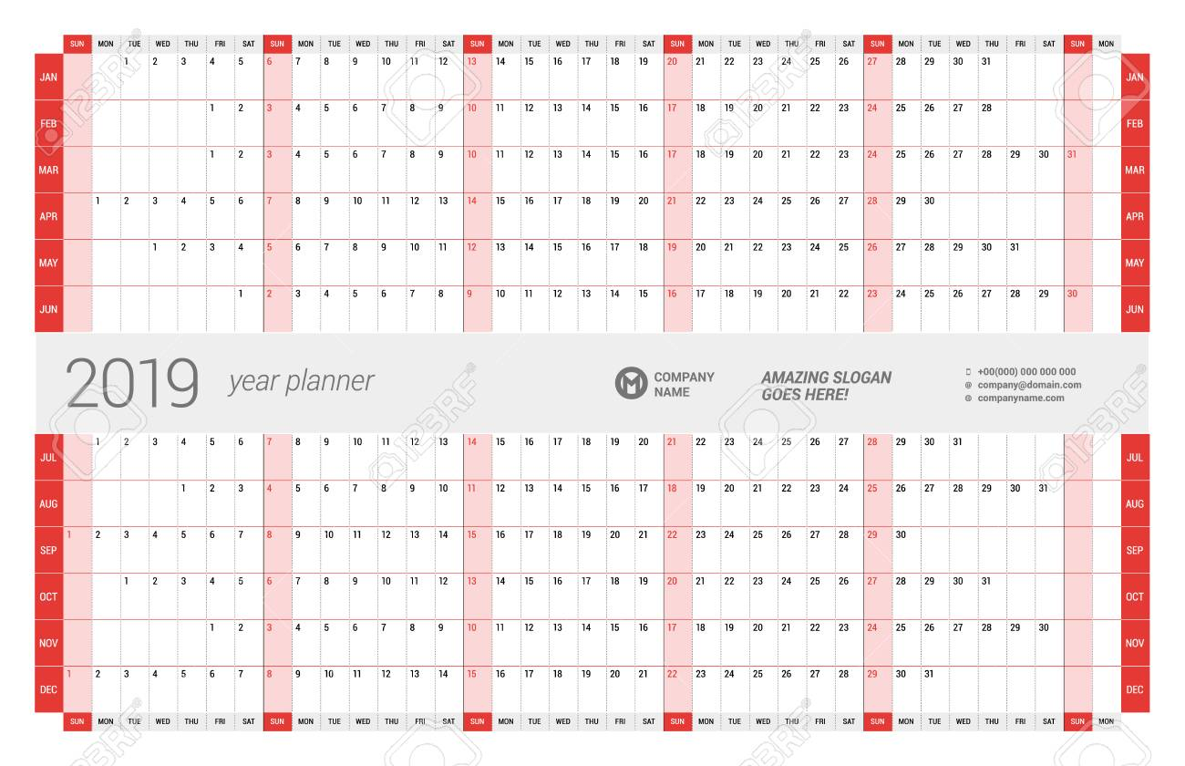 vector yearly wall calendar planner template for 2019 year vector design print template week starts sunday