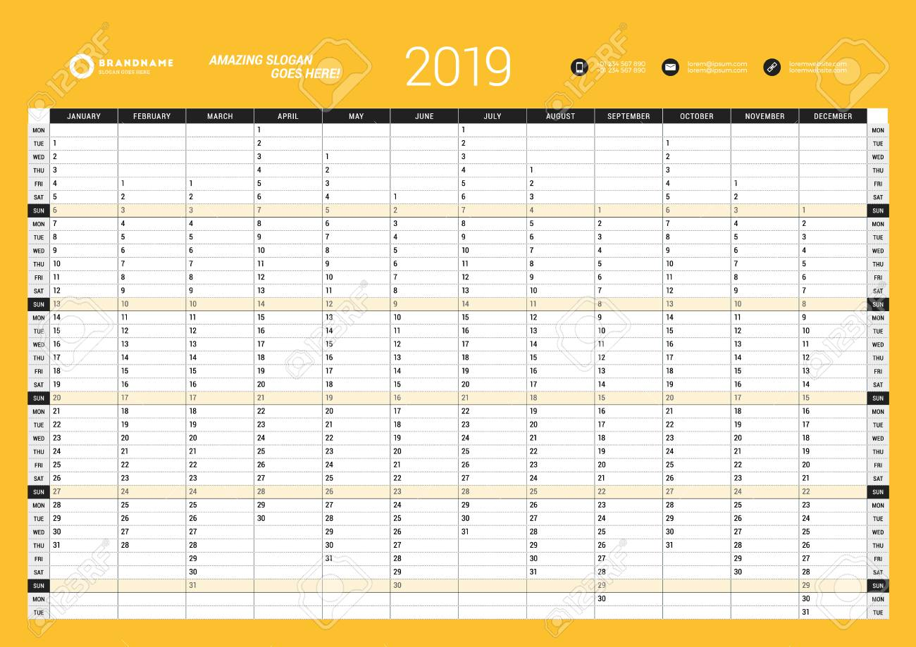 graphic regarding Yearly Planner Template referred to as Per year Wall Calendar Planner Template for 2019 Calendar year. Vector Style and design..