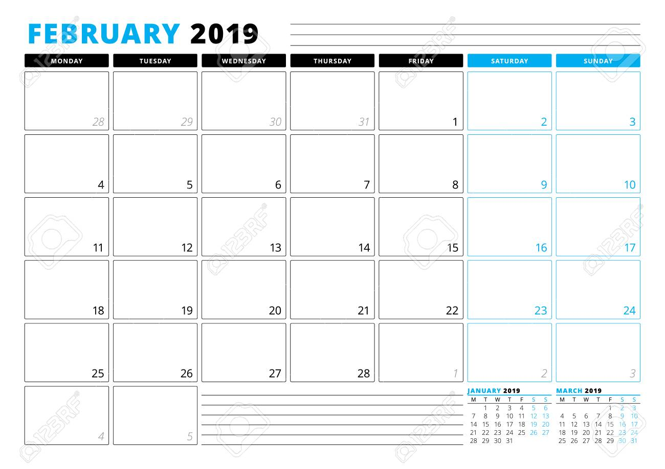 Calendar template for february 2019 business planner template calendar template for february 2019 business planner template stationery design week starts on friedricerecipe Choice Image