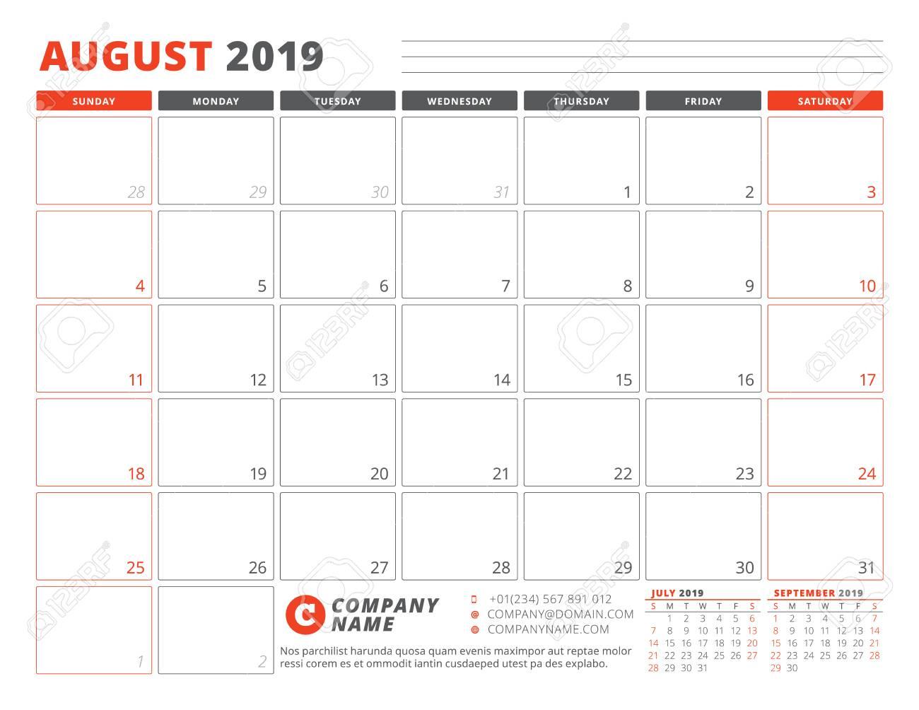Calendar Template for August 2019  Business Planner Template