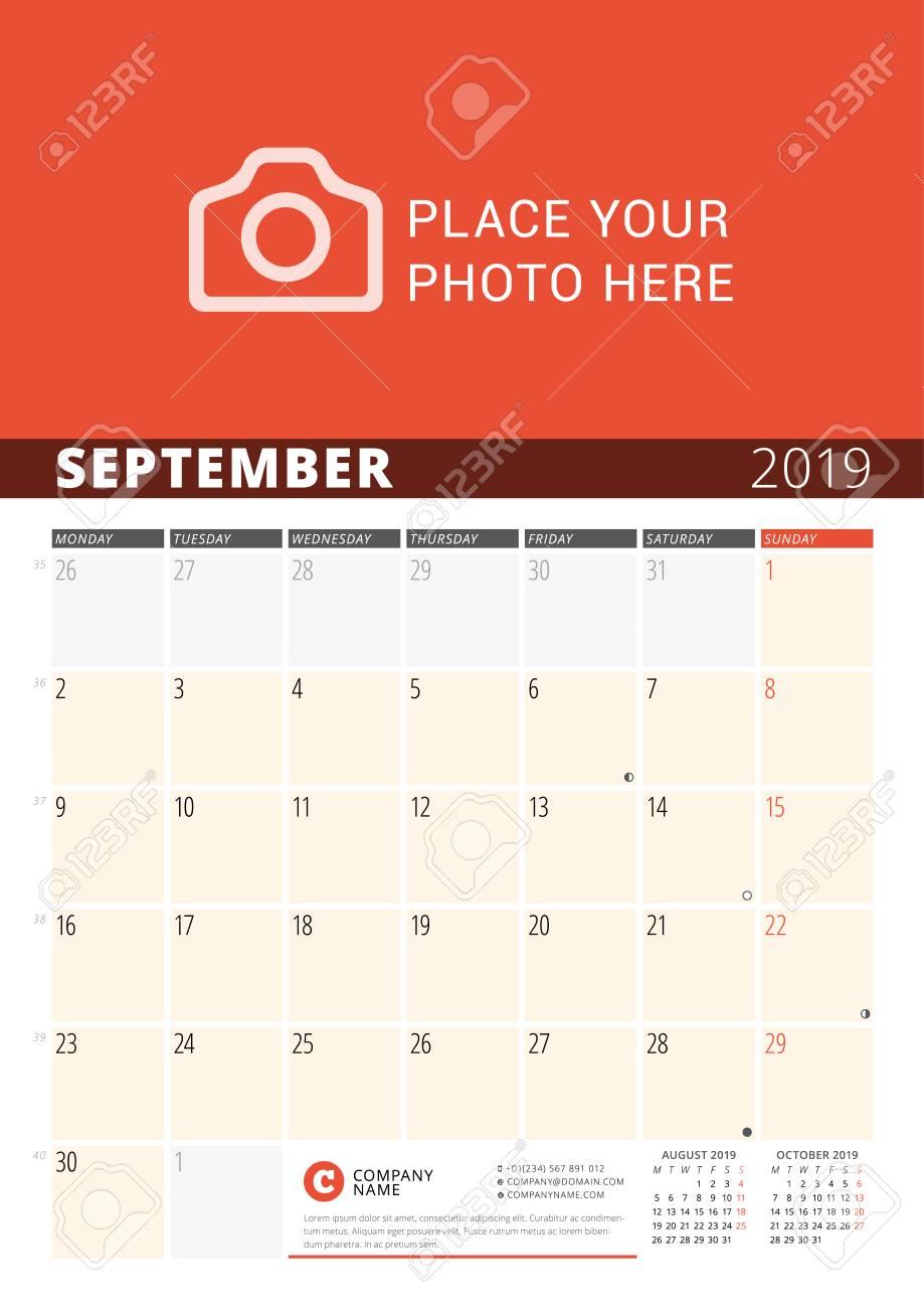 Wall Calendar Planner for 2019 Year  Vector Design Print Template
