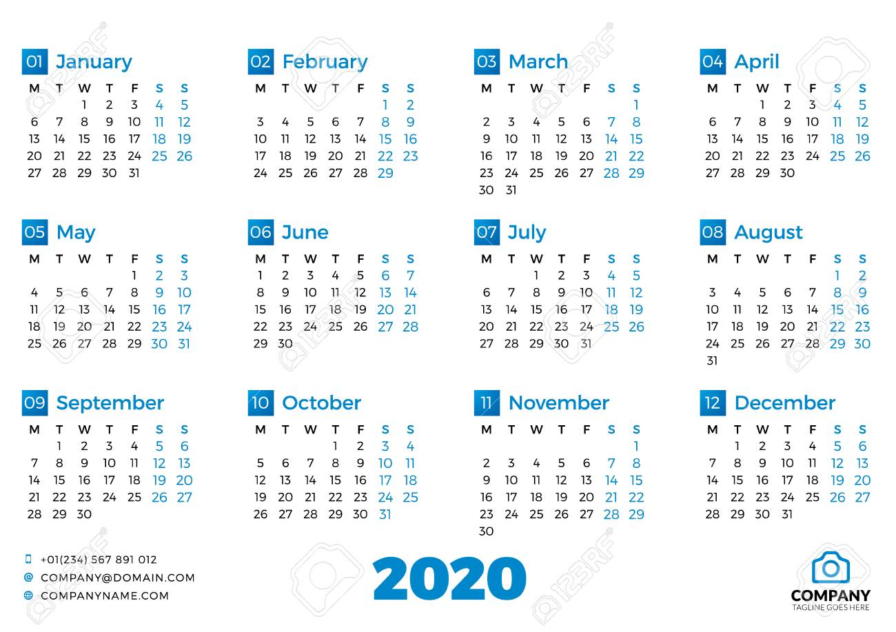 Simple calendar template for 2020 year  Week starts on Monday