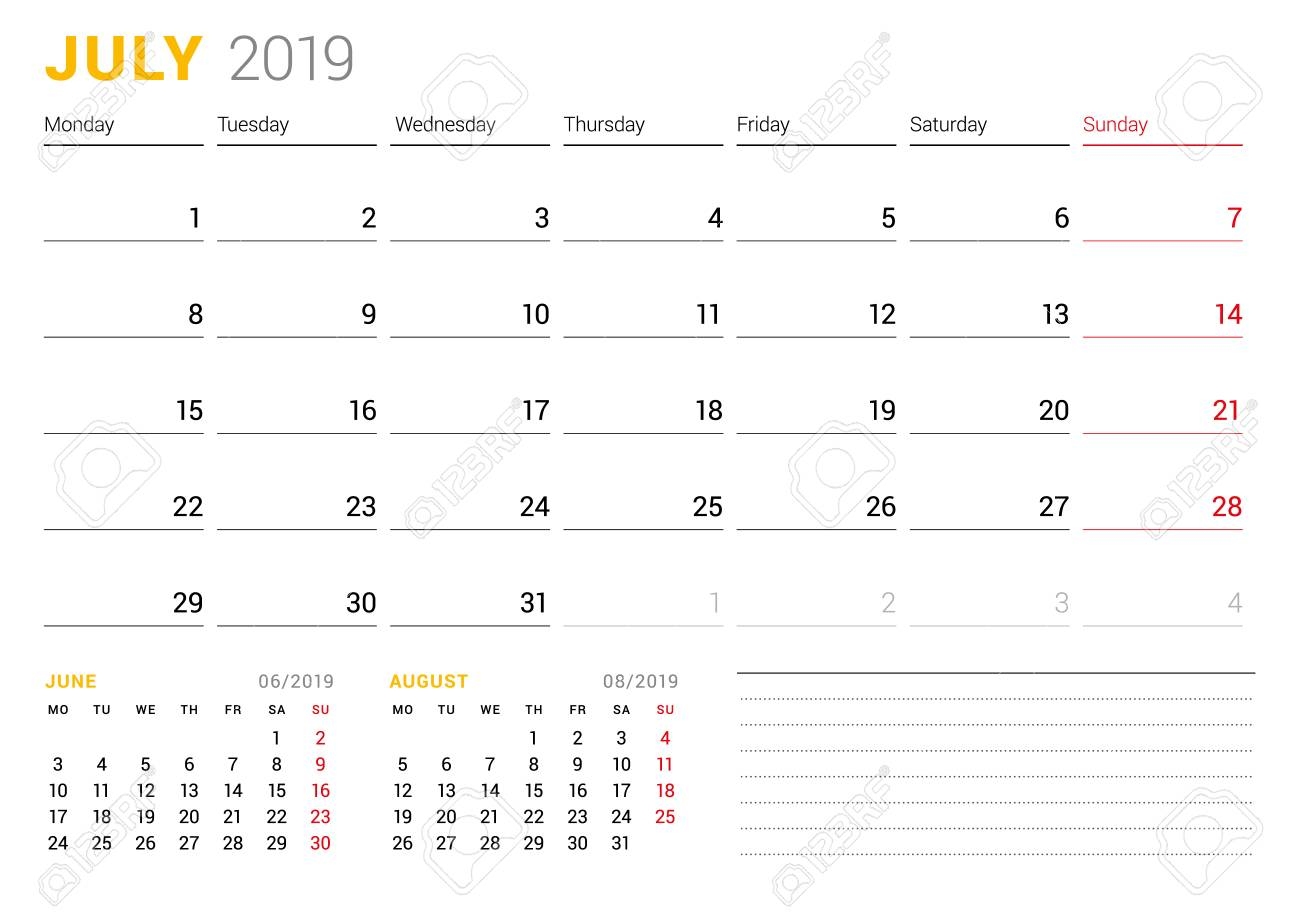 Calendar template for July 2019  Business planner  Stationery