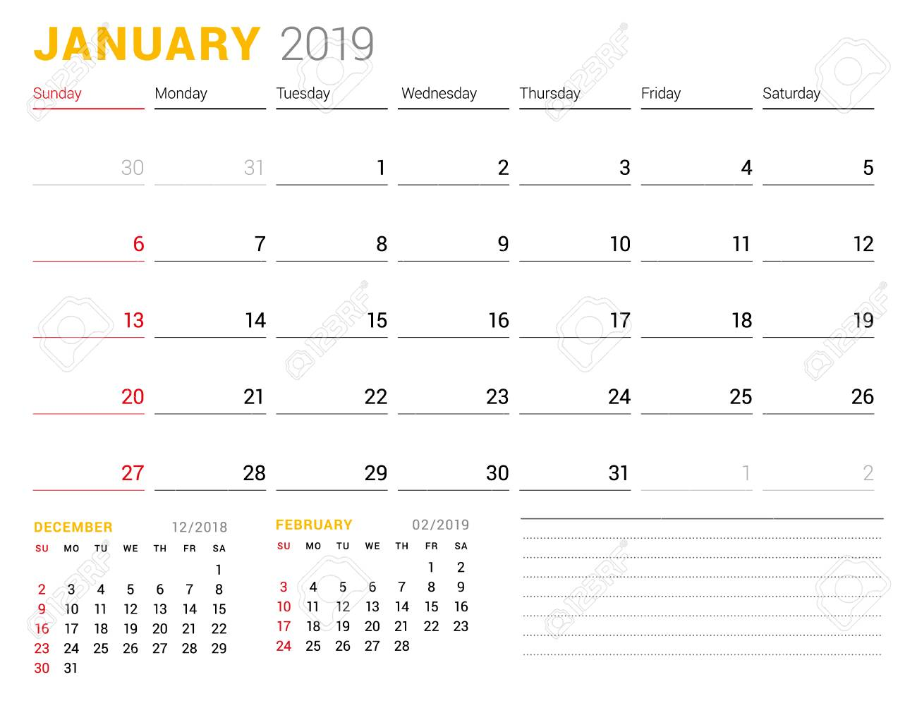 Calendar Template For January 2019 Business Planner Stationery