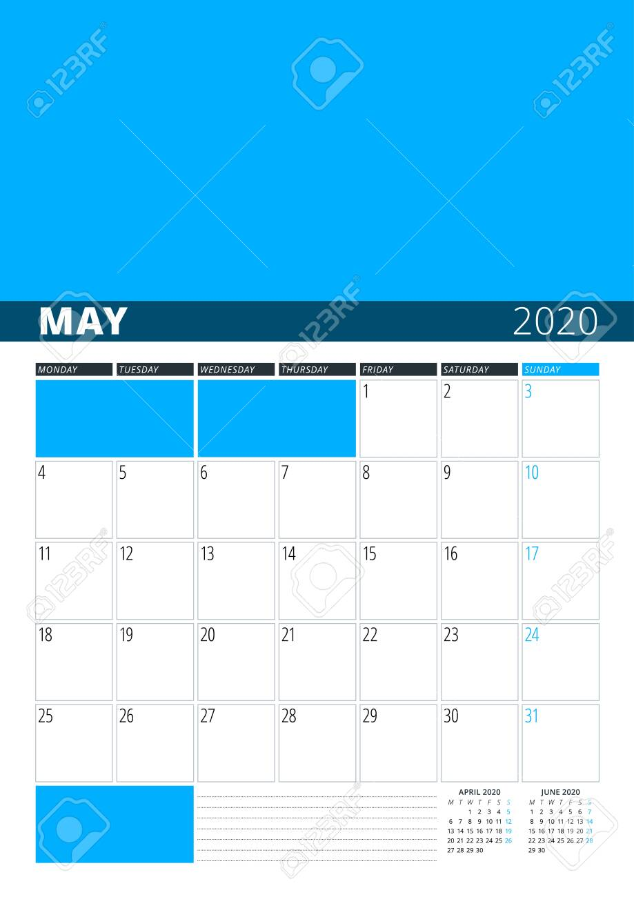Wall Calendar Planner for May 2020  Vector Design Print Template