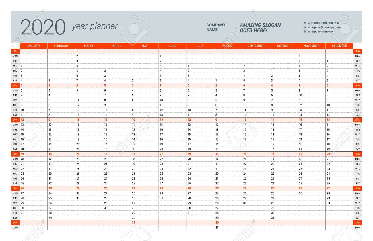 Wall calendar yearly planner template for 2020. Vector design print template. Week starts on Sunday - 126841446