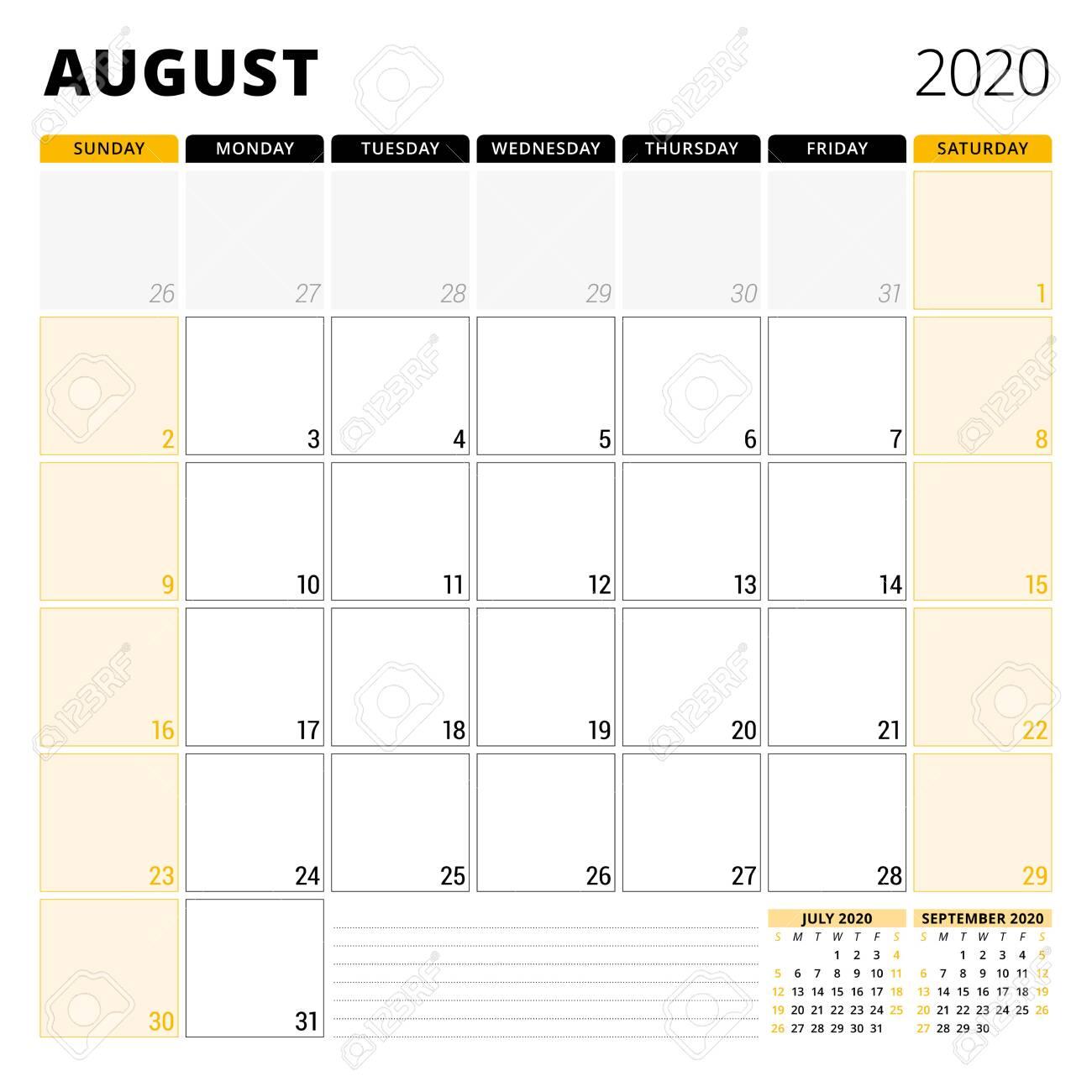 Calendar planner for August 2020  Stationery design template