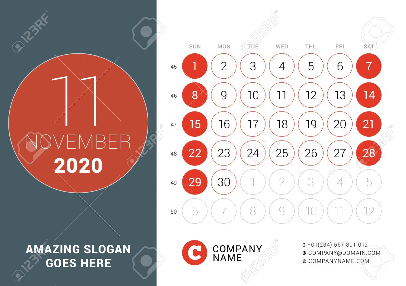 November 2020. Desk calendar. Design print template with place for photo. Week starts on Sunday. Vector illustration - 137247658