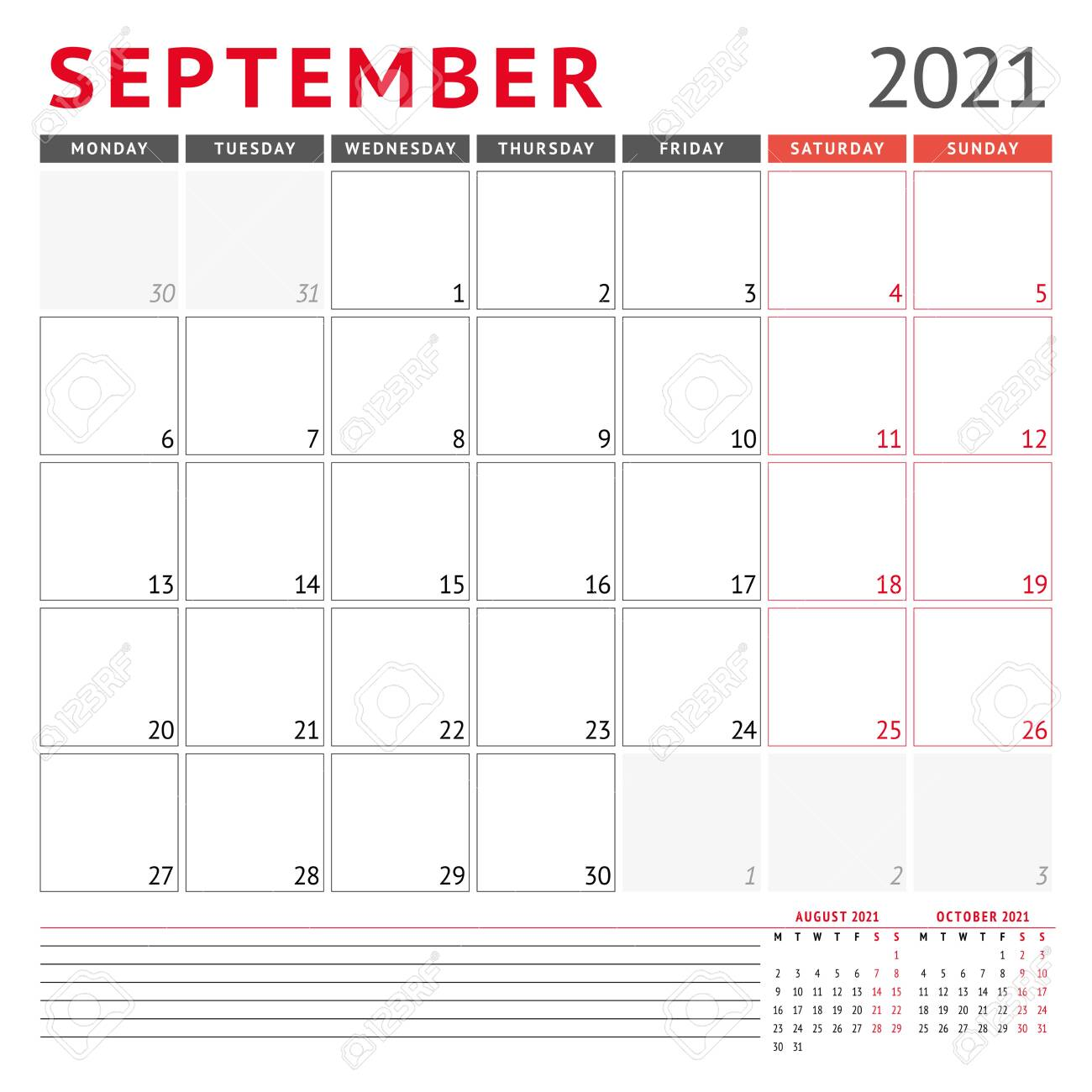 Calendar template for September 15. Business monthly planner. Stationery  design. Week starts on Monday. Vector illustration