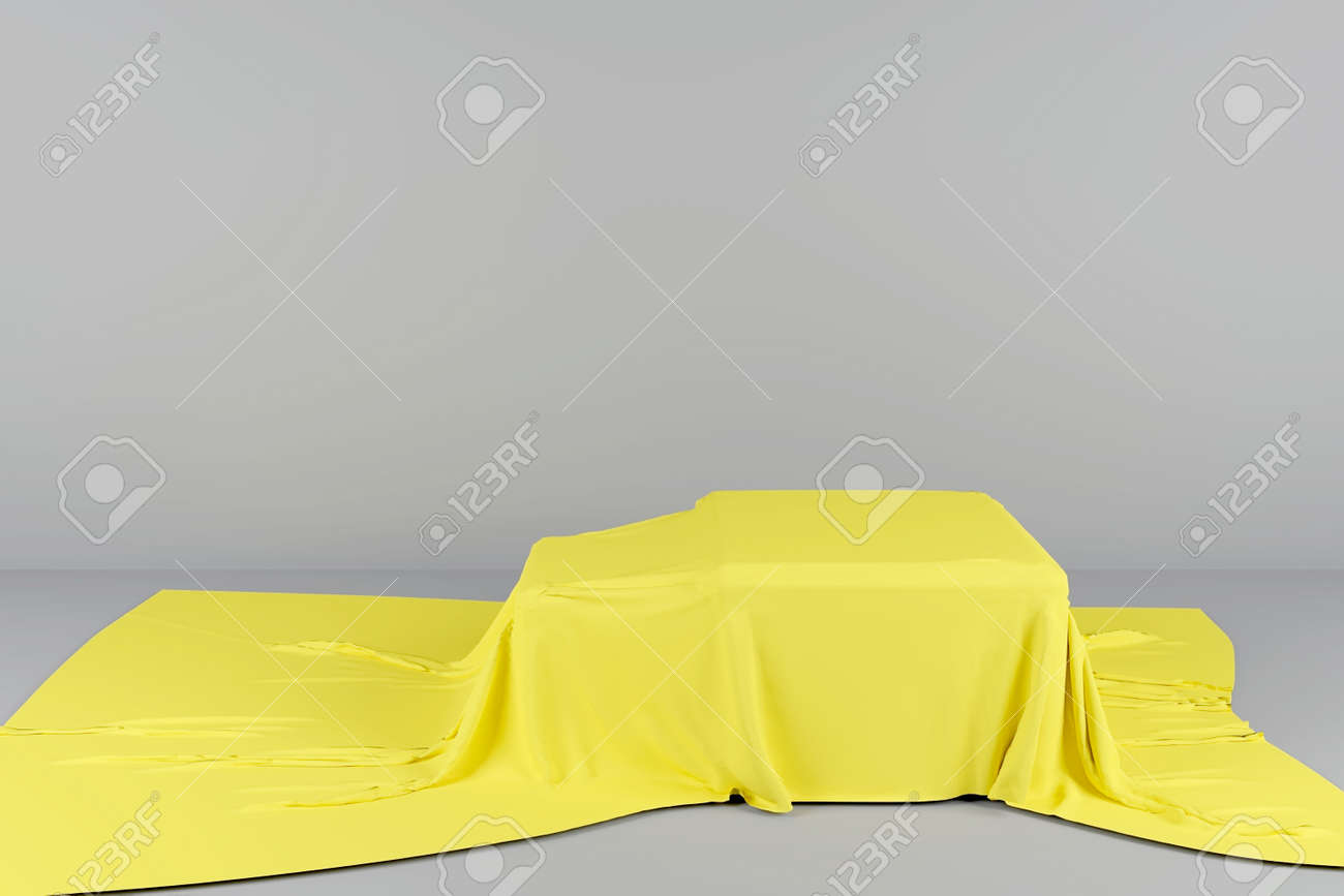 Stage with a pedestal for placing objects. 3D rendering. Pedestal in the form of a cube covered with yellow cloth. Cube on stage. The colors of the year 2021 are illuminating yellow and ultimate gray. - 166975940