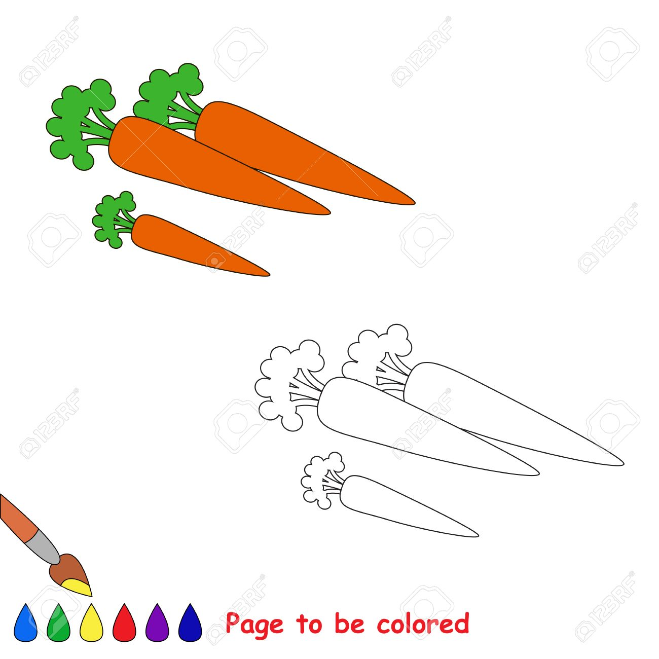 Zanahoria De Dibujos Animados Para Colorear Libro Para Colorear