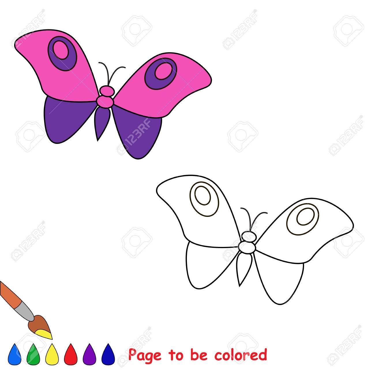 Mariposa De Dibujos Animados Para Colorear. Libro De Colorante Para ...