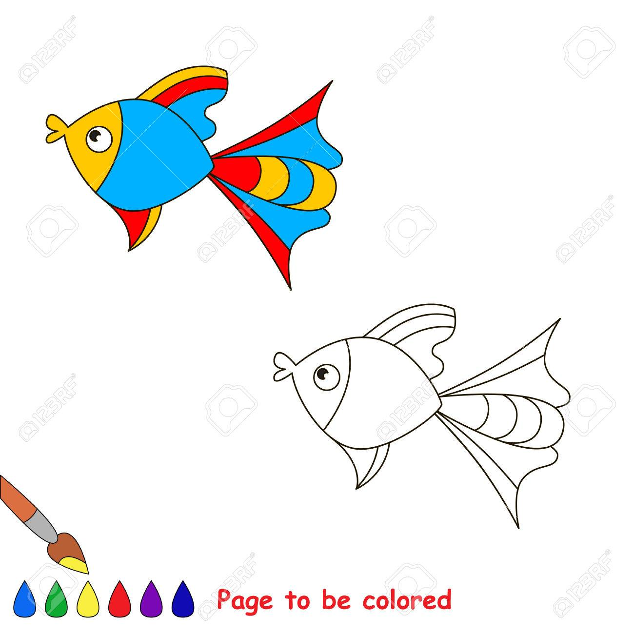 Colorful Fish. Coloring Book For Children. Page To Be Color ...