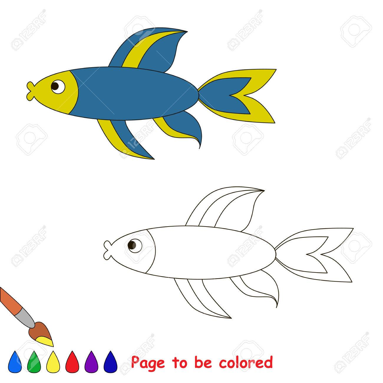 Blue Fish. Coloring Book For Children. Page To Be Color. Sealife ...