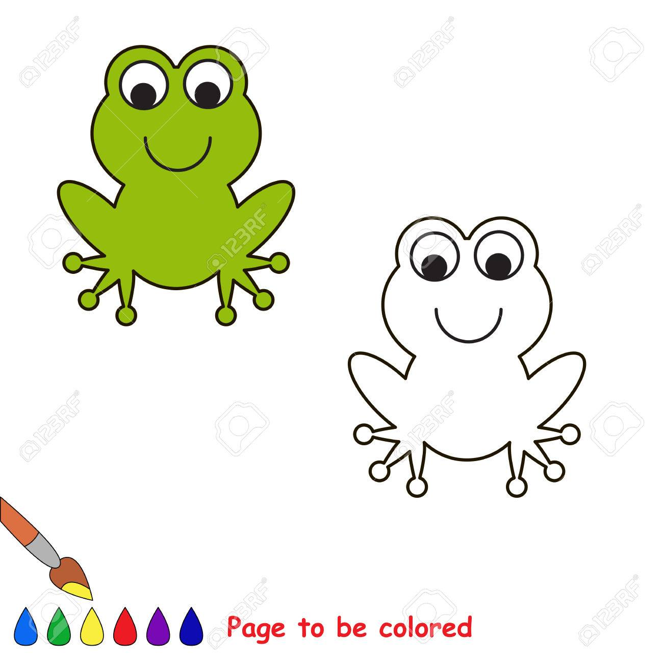 cartoon frog to be colored coloring book for children royalty free