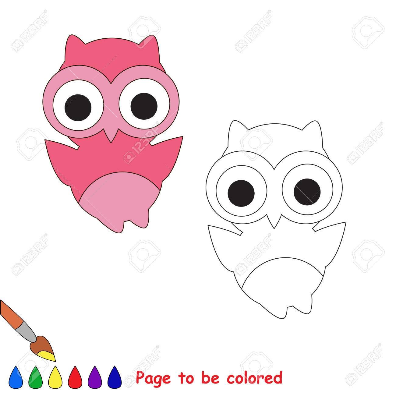 Cartoon Búho Rosado A Ser De Color Libro Para Colorear Para Los Niños