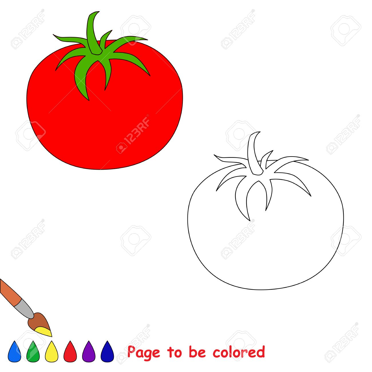 Cartoon Tomato To Be Colored. Coloring Book For Children. Royalty ...