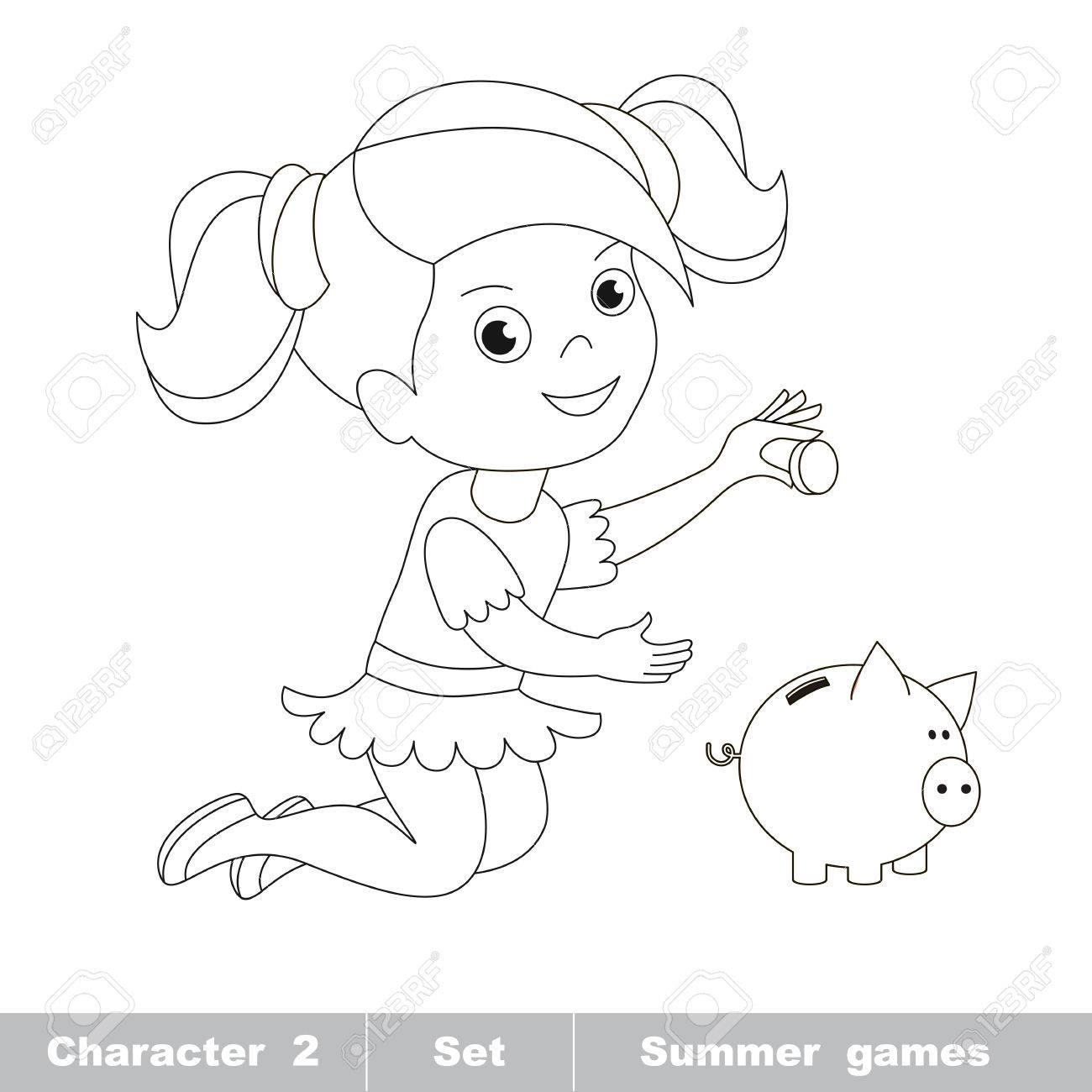 Una Pequeña Niña Jugar Con La Moneda Y Hucha. Personaje De Dibujos ...