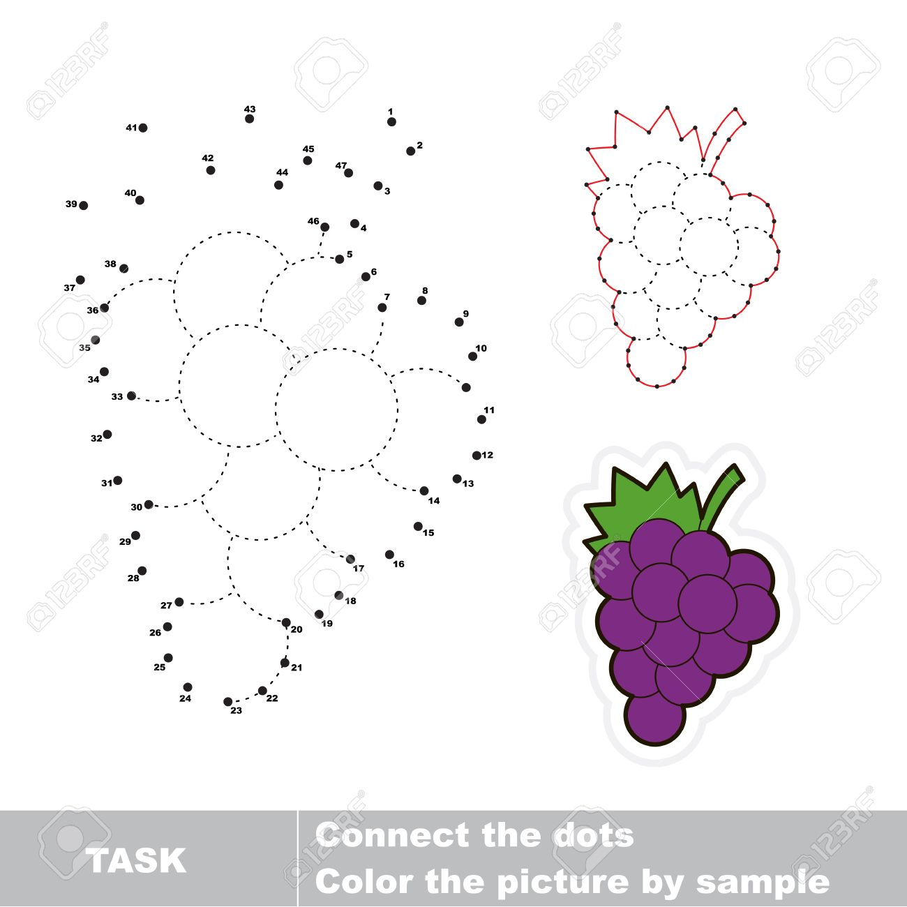 game for numbers cartoon grapes connect the dots and find hidden