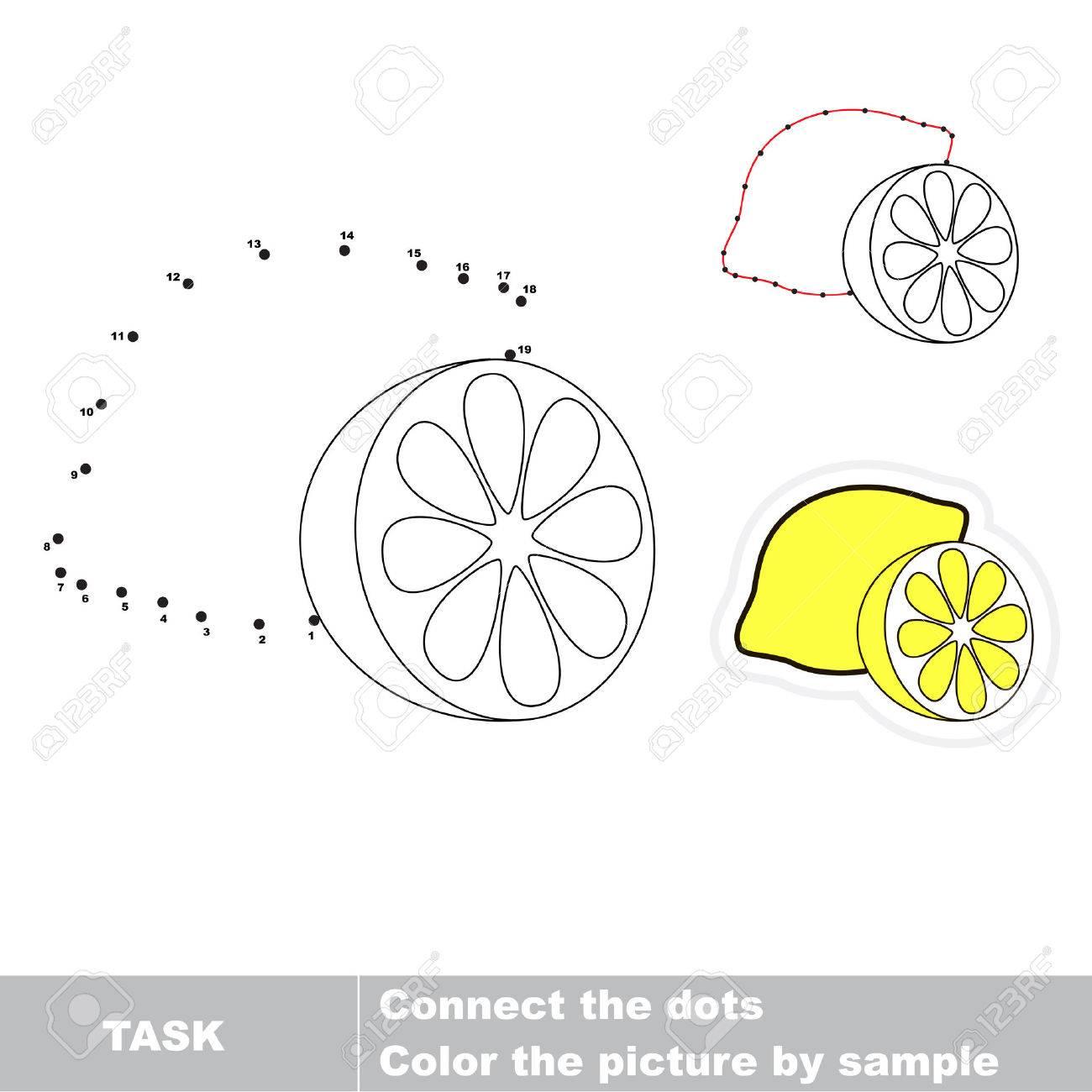 Spiel Für Zahlen. Eine Karikatur Zitrone. Verbinde Die Punkte Und ...