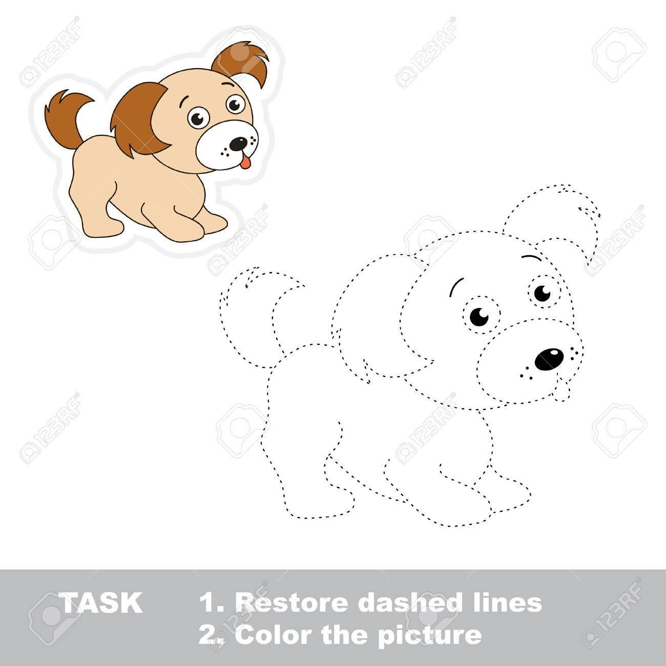 trazar juego para los niños un cachorro de dibujos animados para