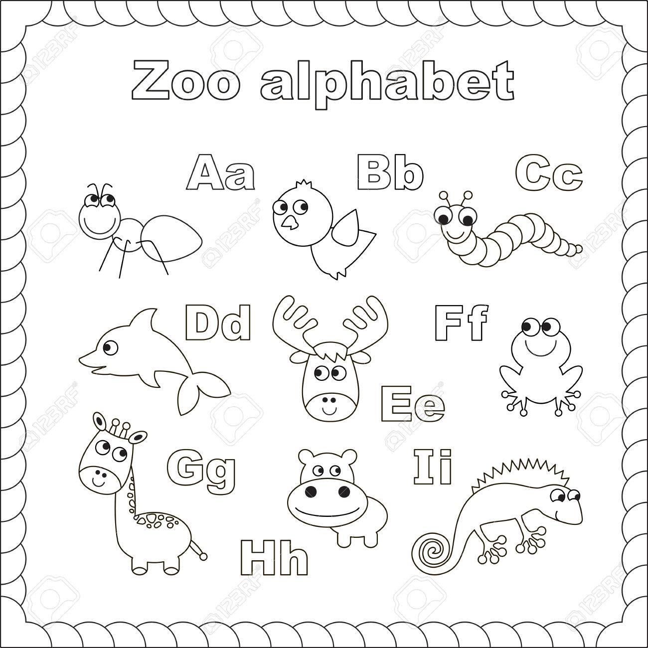 Esquema Zoológico Alfabeto Para Colorear. Letras Ai. Aprender A Leer ...