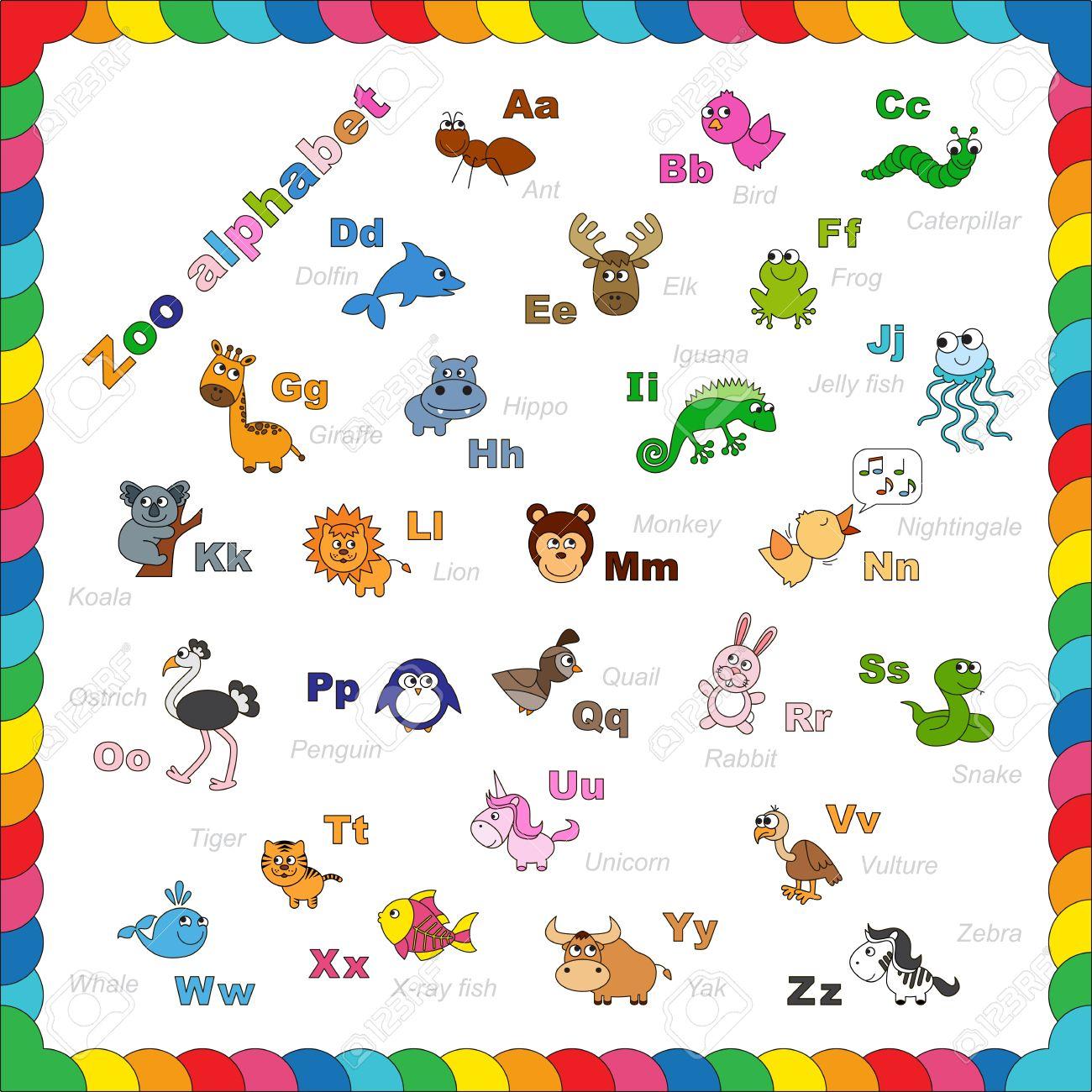 El Niños Completos Inglés Alfabeto Animales Zoológico Con Animales De Dibujos Animados Divertidos Abc Diseño Alfabeto Zoo En El Estilo De