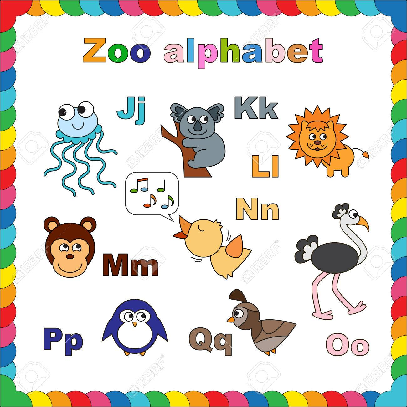 Coloring Book Zoo Alphabet Learn To Read Isolated Letters