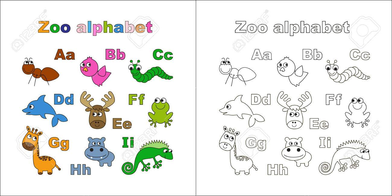 Coloring Book Zoo Alphabet Letters A I Learn To Read Isolated