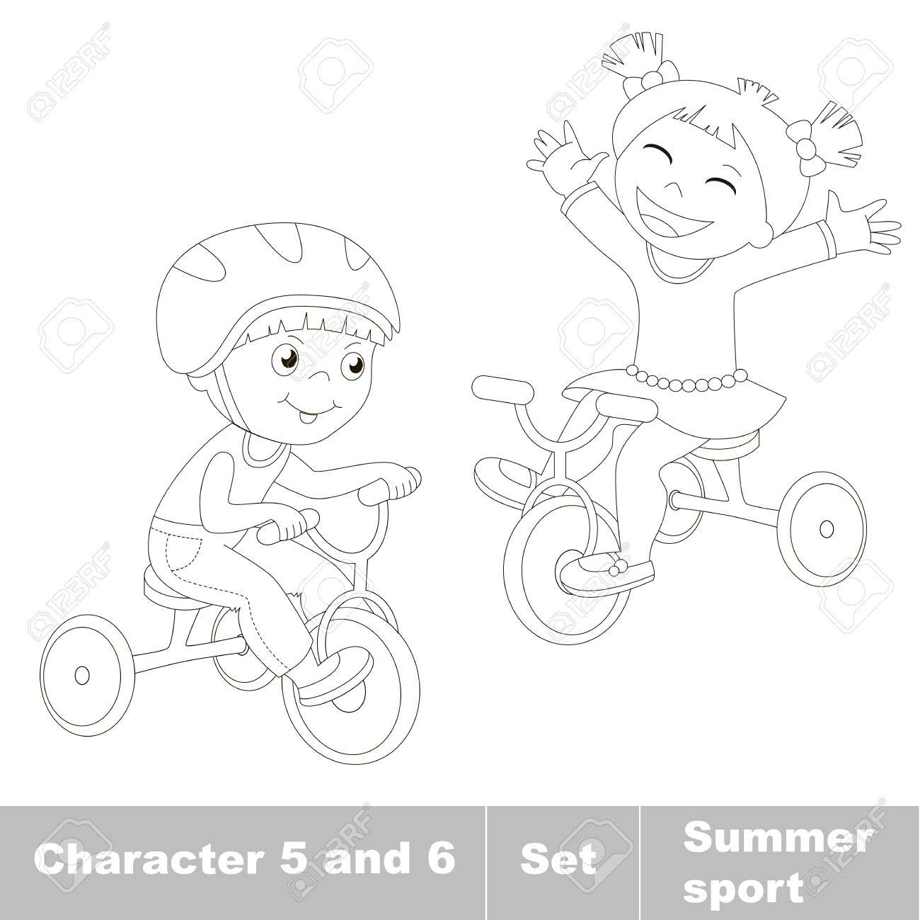 Page To Be Color. Two Baby Boy And Girl Ride A Bike. Summer ...