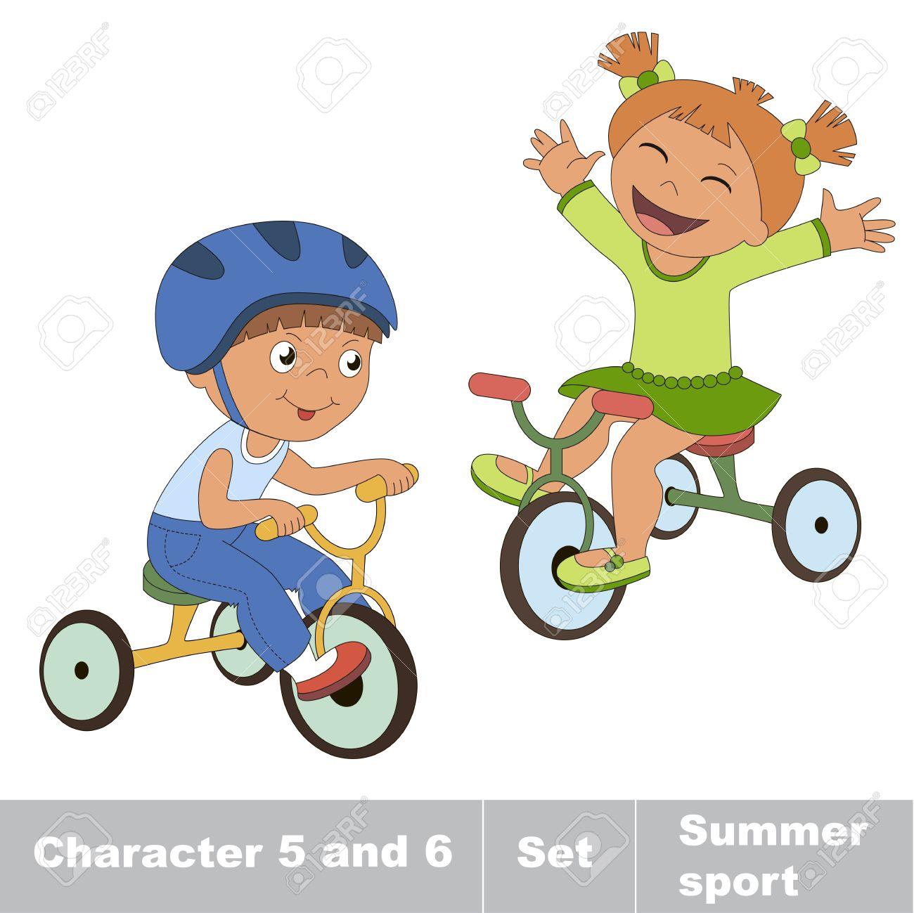 diseño novedoso fotos nuevas Para estrenar Dos niño y niña andar en bicicleta. Verano juegos al aire libre para los  niños. Niños deporte verano.