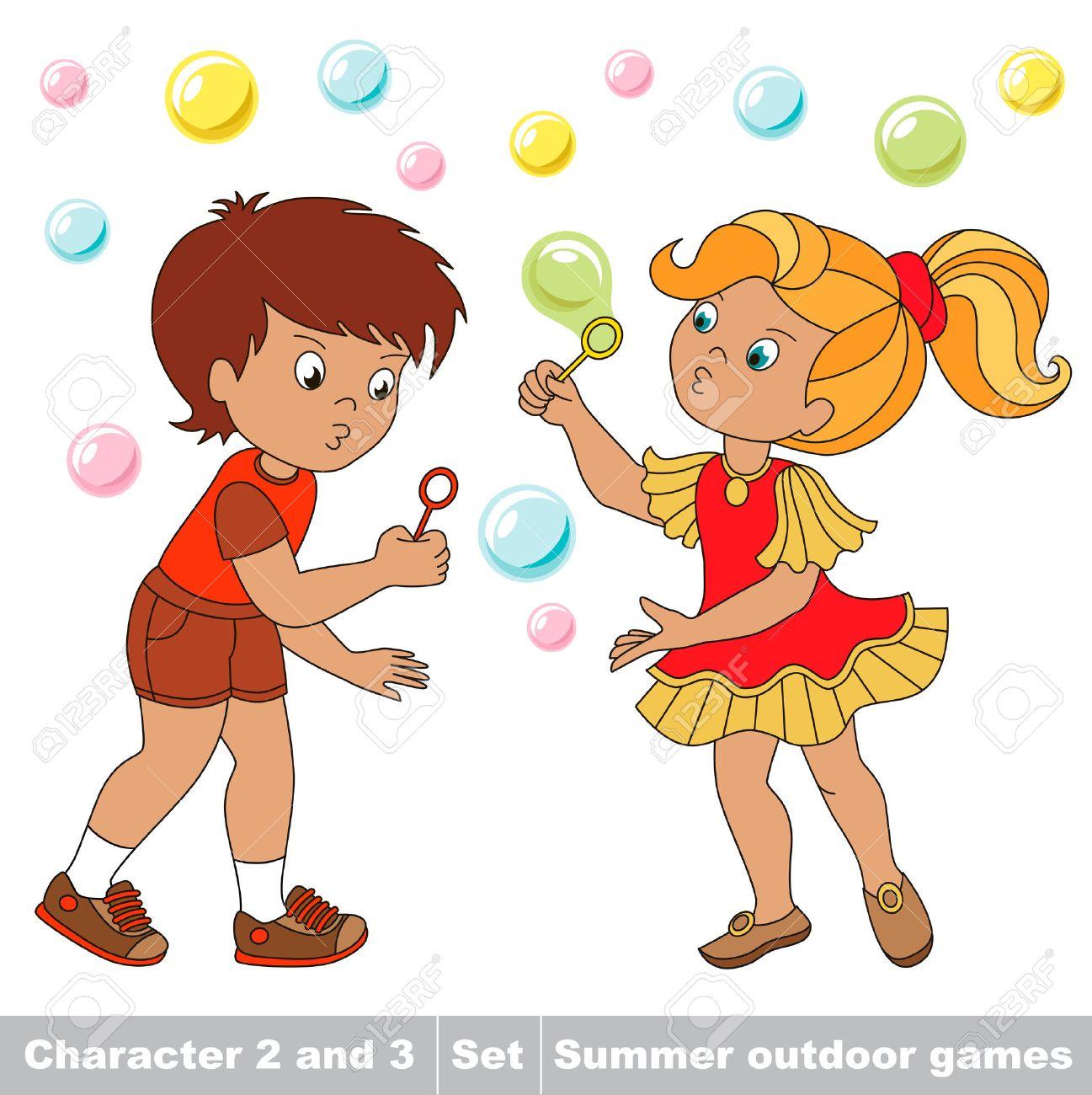 Pequeño niño y amiga jugando en las pompas de jabón jardín inflar. Burbujas  volar los dos niños se divierten. Personaje de dibujos animados jugando ...