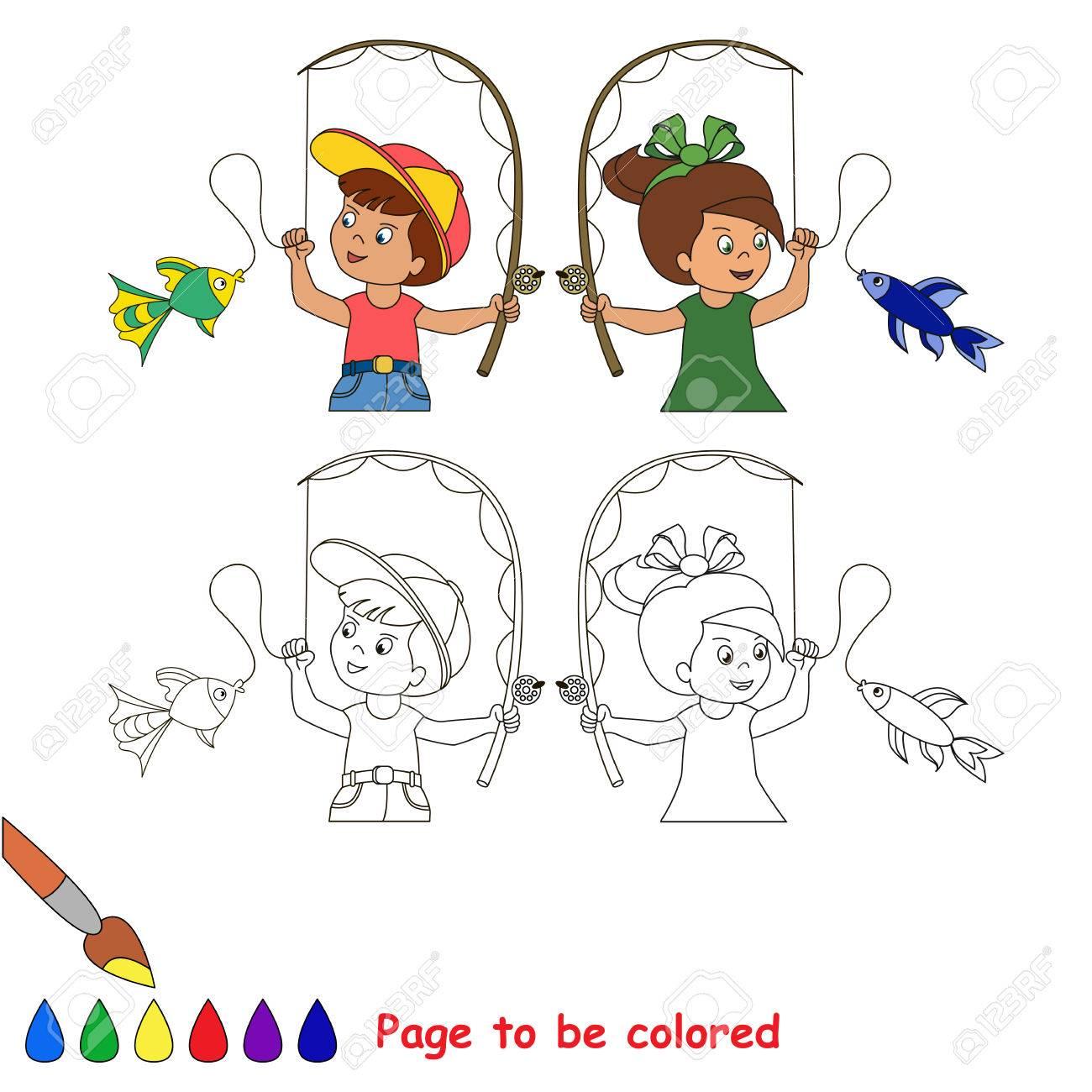 Dos Dibujos Animados Bebé - Niños Y Niñas - La Captura De Peces ...
