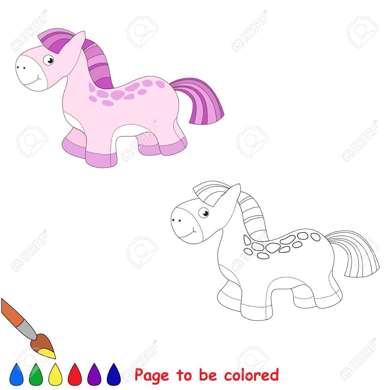 Caballo De Juguete Bebé Equina Chica De Color Rosa Juego De Niños Libro De Colorear Tarea A Color Para Los Niños Jugando