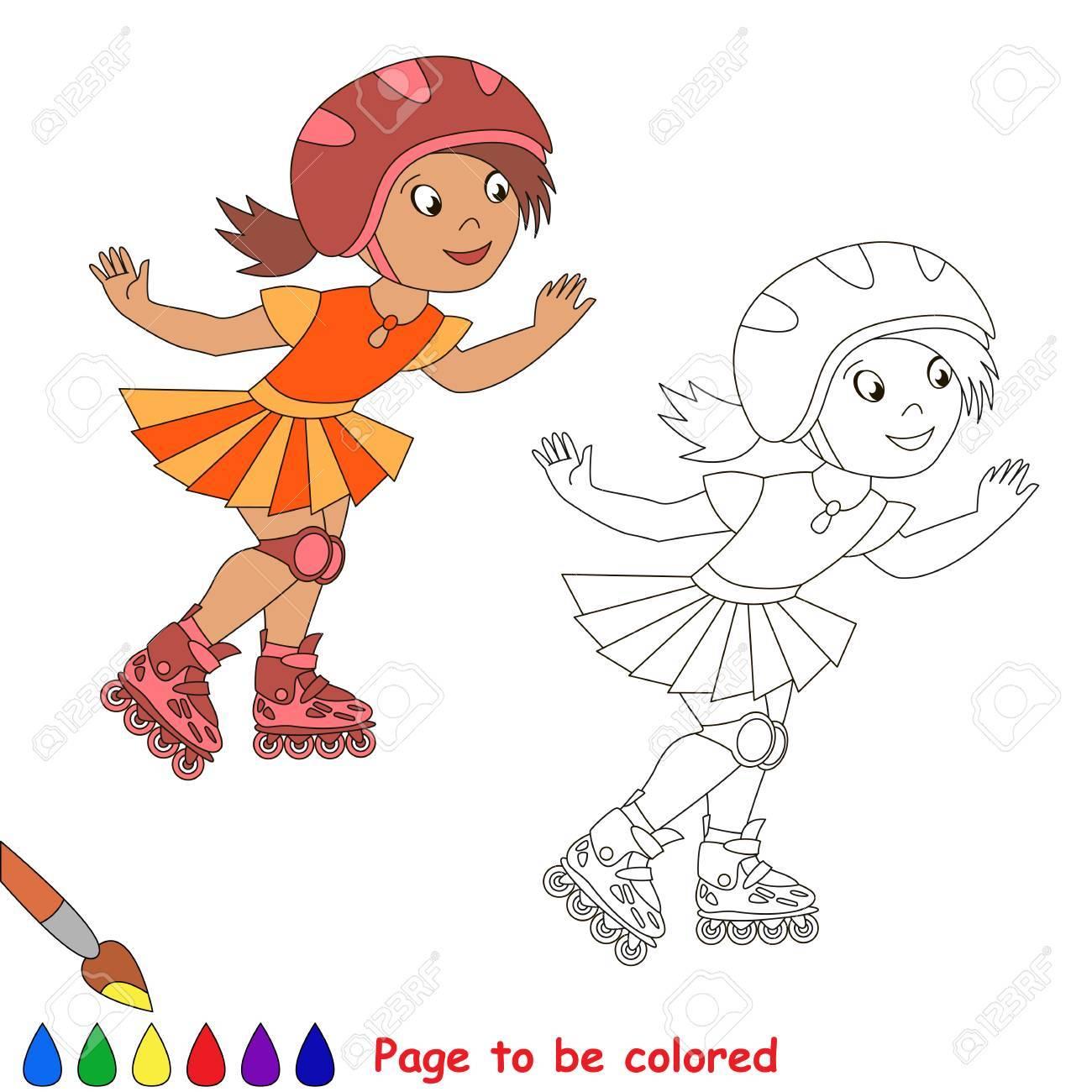 Ein Kind Mädchen Rollschuhlaufen In Einem Roten Helm Und Orange ...