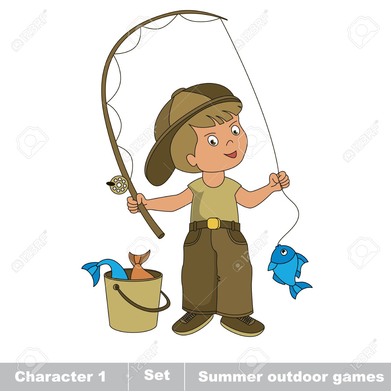 5c6a49feed505 One young fisherman in cap with rod caught fish. Cartoon character..