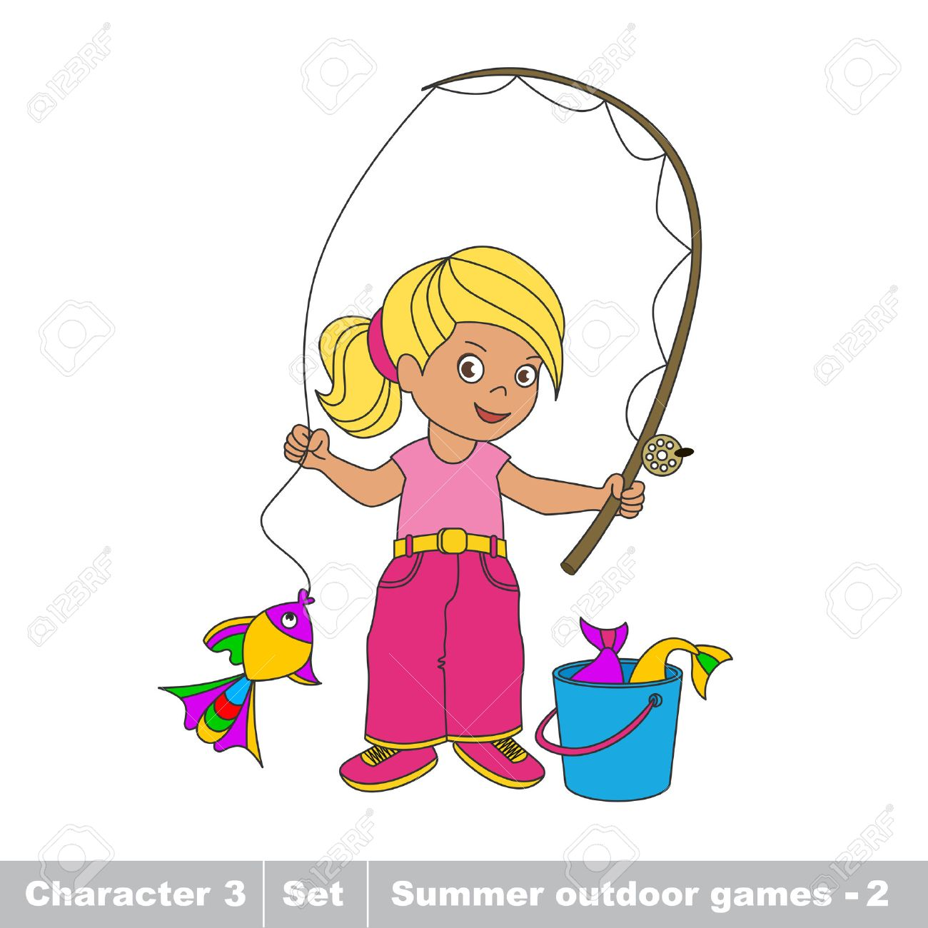 Catching a Fish Clip Art , Images & Illustrations   Whimsy Clips ®