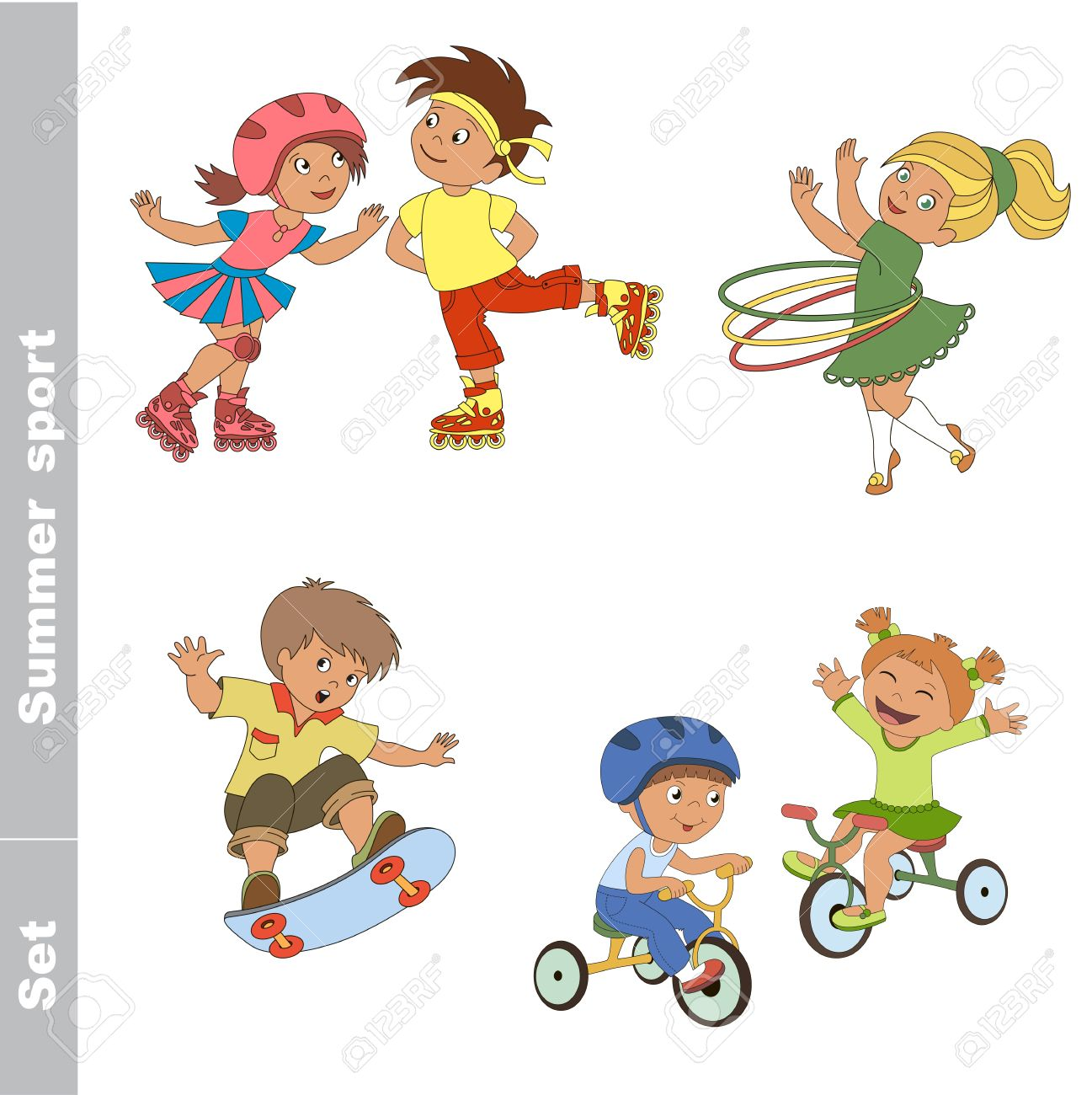 pas mal b9b94 0f869 Kid sports d'été réglé. Jeux d'enfants extérieurs. Bébé sports d'été.  Garçon et fille de patinage sur patins à roulettes. Garçon et fille faire  du ...