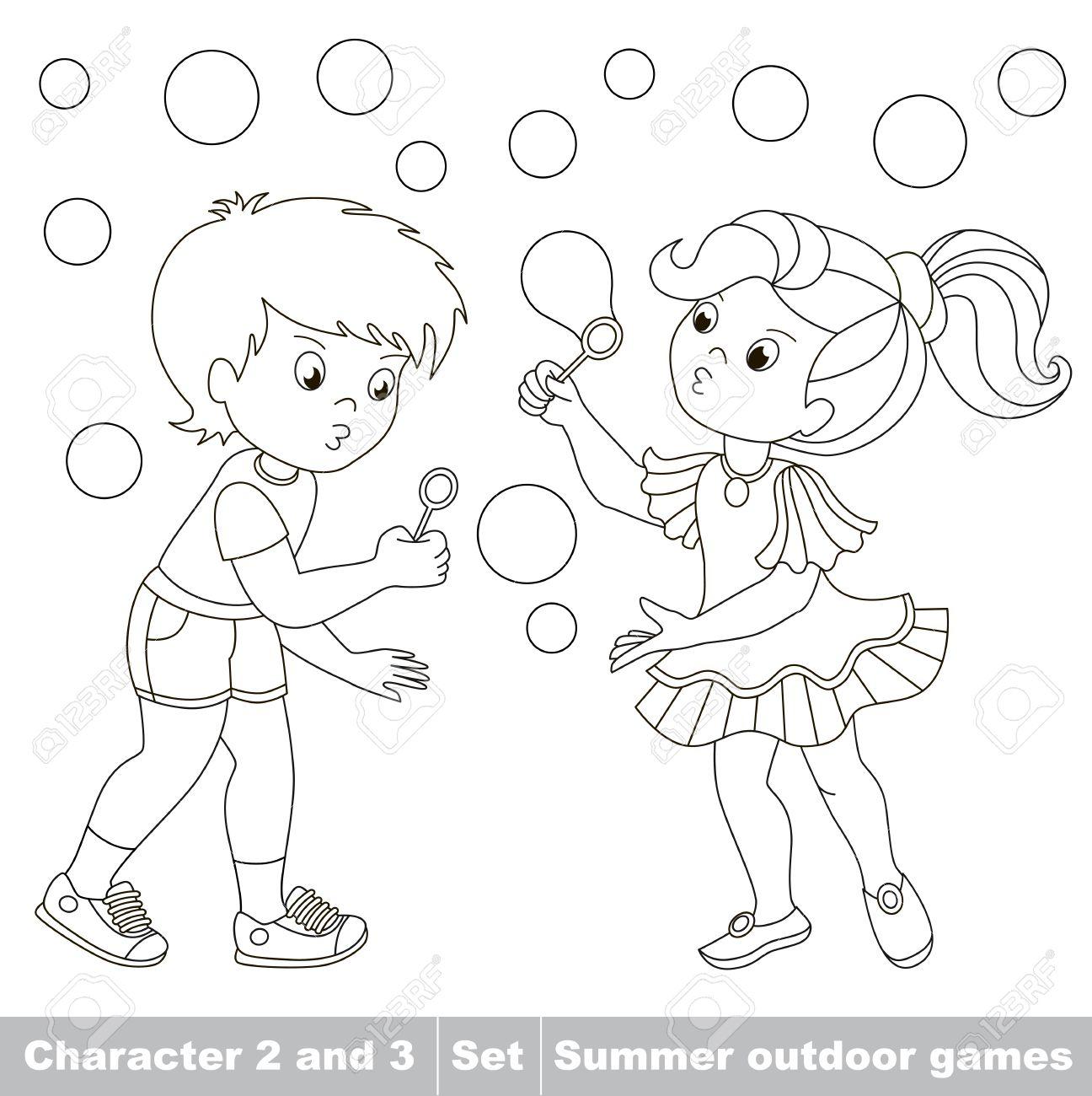 Página A Ser Color Pequeño Niño Y Amiga Jugando En Las Pompas De Jabón Jardín Inflar Burbujas Volar Los Dos Niños Se Divierten Personaje De