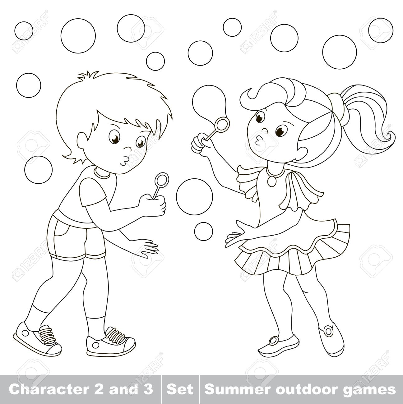 Page To Be Color. Small Baby Boy And Girl Friend Playing In The ...