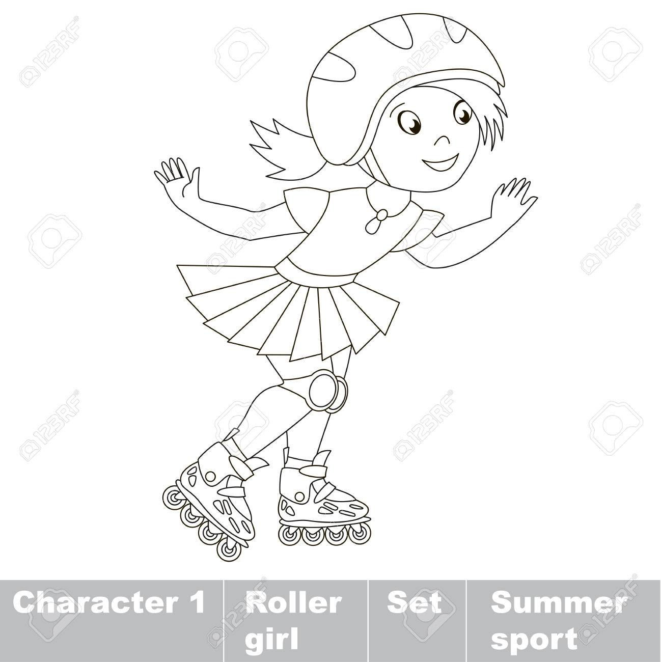 One Child Girl Roller Skating In A Helmet And Dress. Page To ...