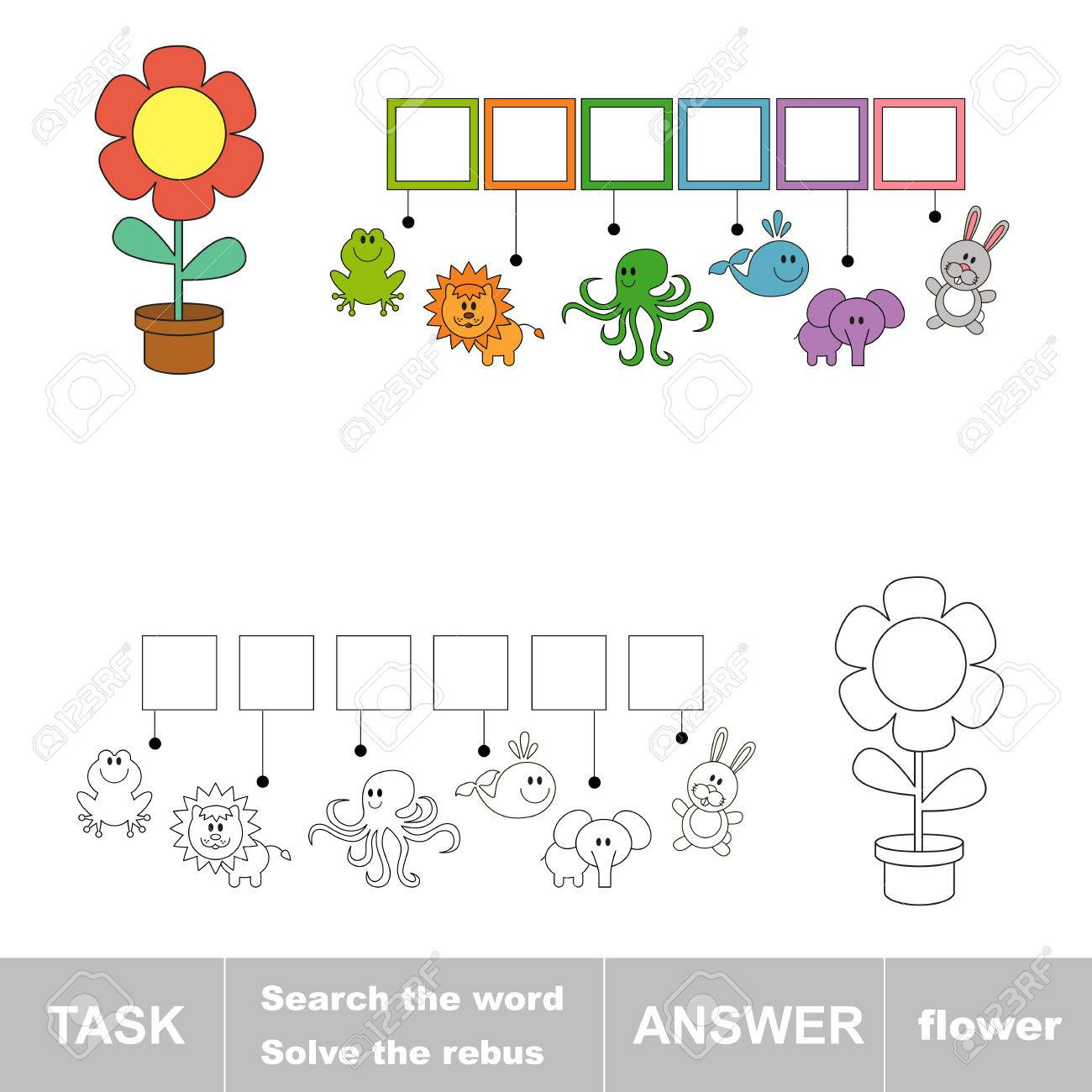 Search The Word Flower Find Hidden Word Task And Answer Game