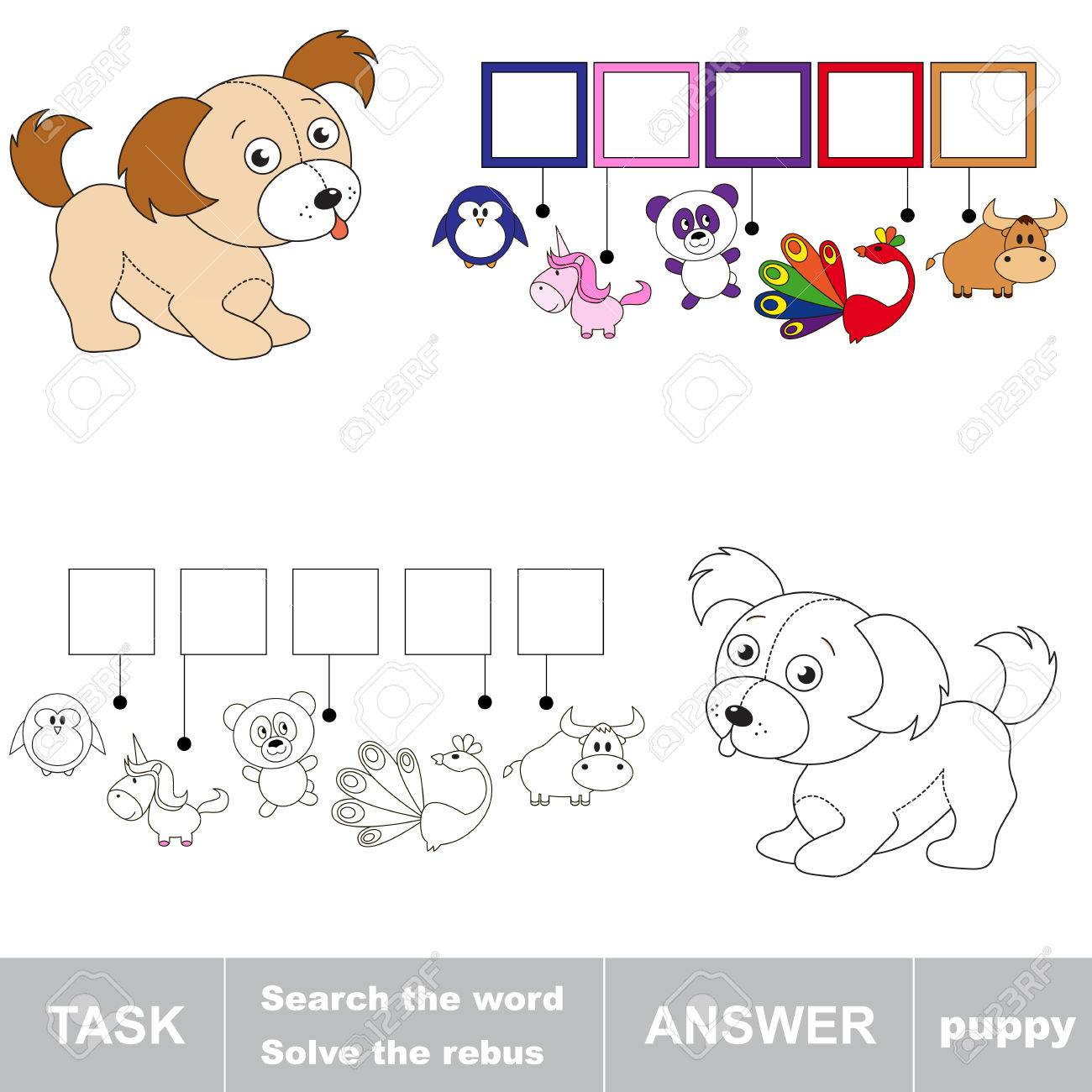 Search the word PUPPY  Find hidden word  Task and answer  Game