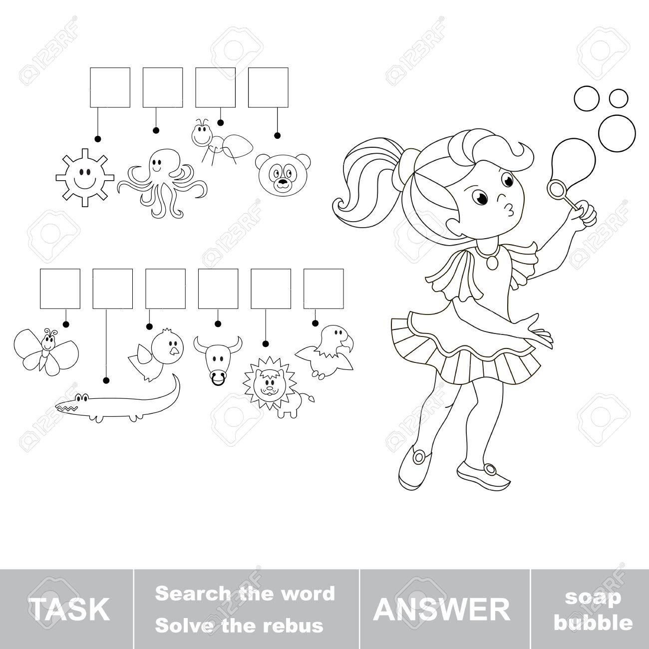Suchen Sie Die Wörter Seifenblase. Finden Sie Versteckte Wort. Rebus ...
