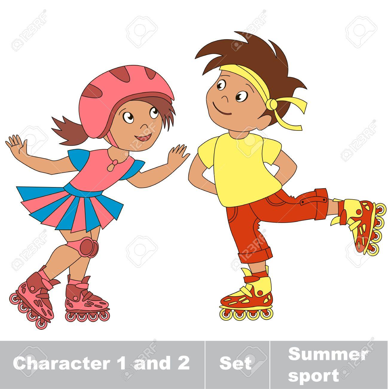 especial para zapato outlet(mk) nuevo estilo Dos pequeños niño y niña de patinaje sobre patines. Verano juegos al aire  libre para los niños. Niños deporte verano.